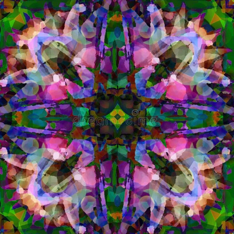 BATIK DE MANDALA D'ÉTOILE DANS POURPRE, BLEU, VERT, ROSE, CONCEPTION ABSTRAITE Type de cru illustration de vecteur