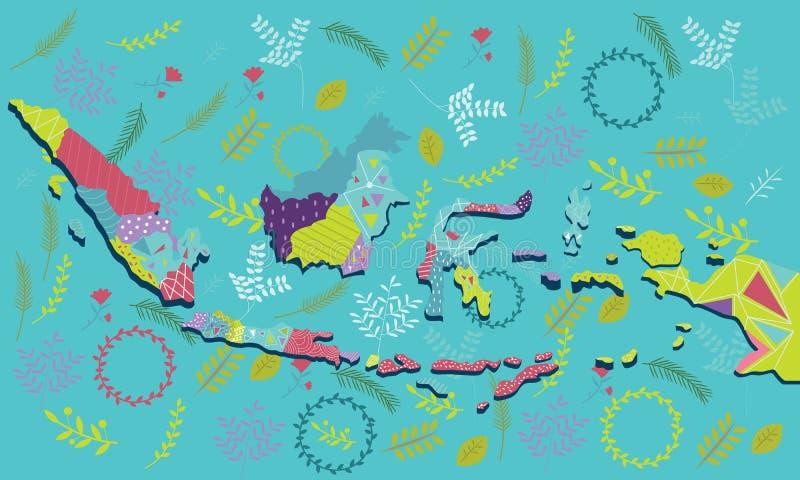 Batik för person som tillhör en etnisk minoritet för prydnad för modell för konst för illustration för Indonesien översiktsvektor royaltyfri illustrationer