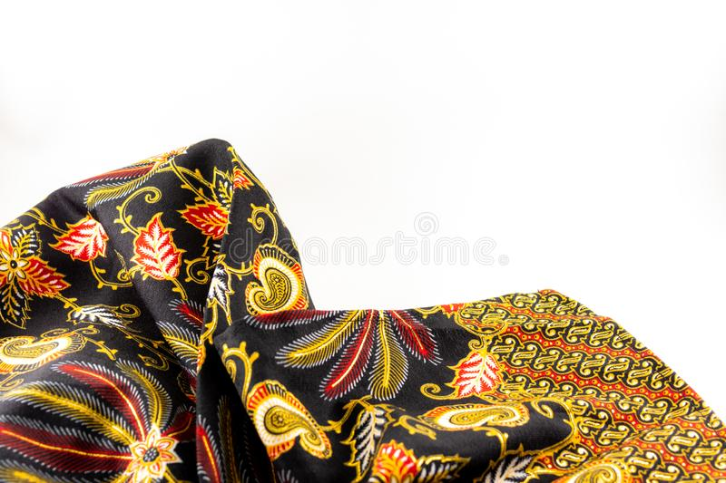 Batik Fabric with floral pattern stock image