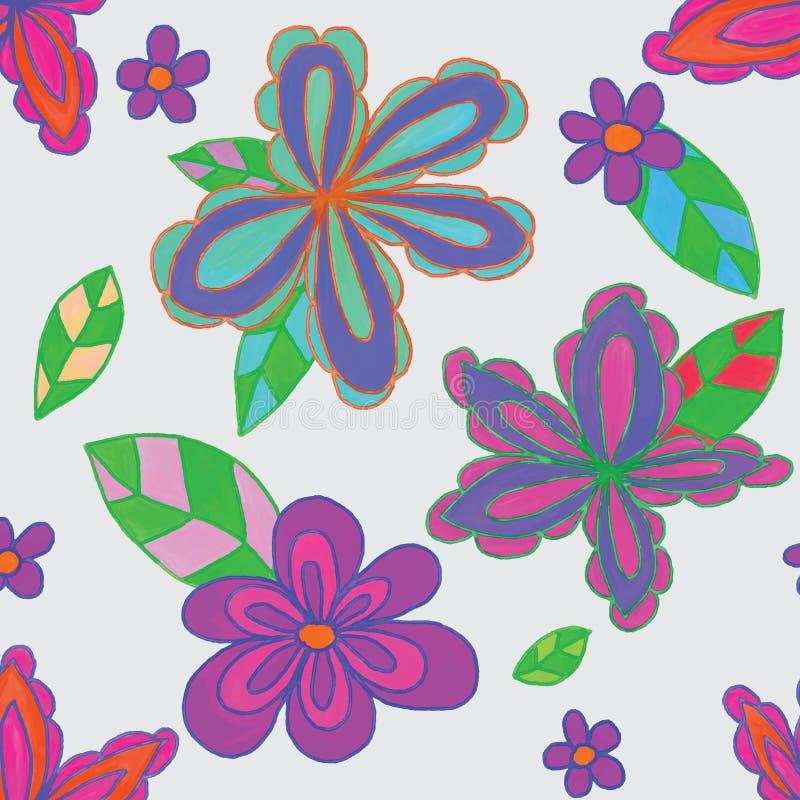 Flower Batik Pink Red Green Dark Seamless Pattern Stock