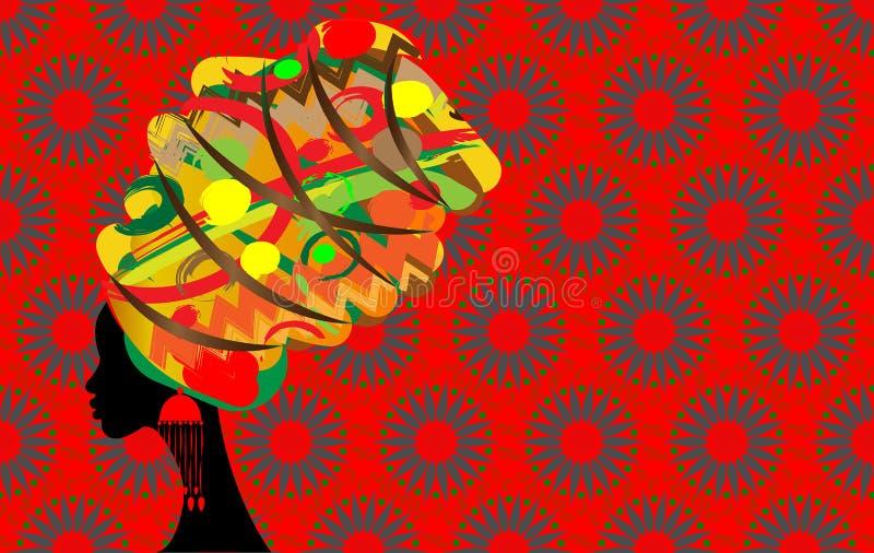 Batik härlig afrikansk kvinna för stående i den traditionella turbanen, svart kvinnakontur vektor illustrationer