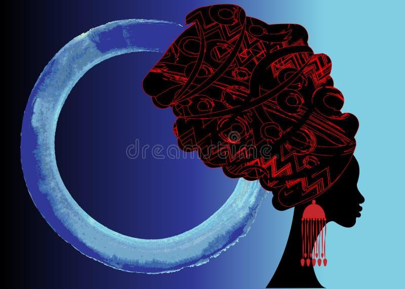 Batik härlig afrikansk kvinna för stående i den traditionella turbanen, svart kvinnakontur stock illustrationer