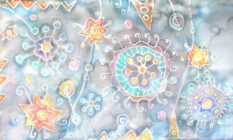 Batik. Hand-painting on silk. Abstract flowers, stars, blots, splashes. Fantastic world. Under the microscope, cosmic patterns stock illustration