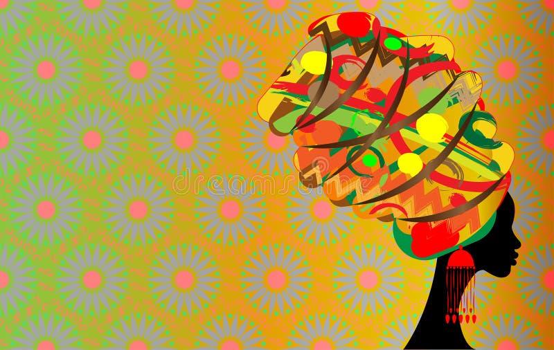 Batik, Porträt-schöne Afrikanerin im traditionellen Turban, Schattenbild der schwarzen Frauen vektor abbildung