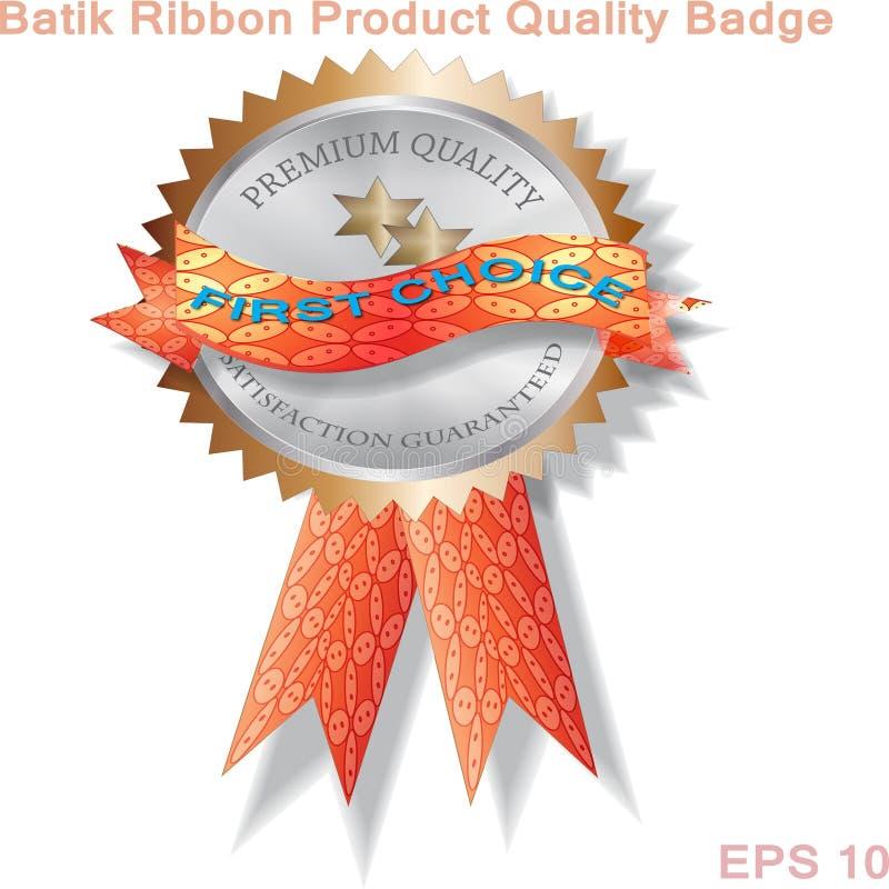 Batik Ribbon Quality Oznaka i godło produktu royalty ilustracja