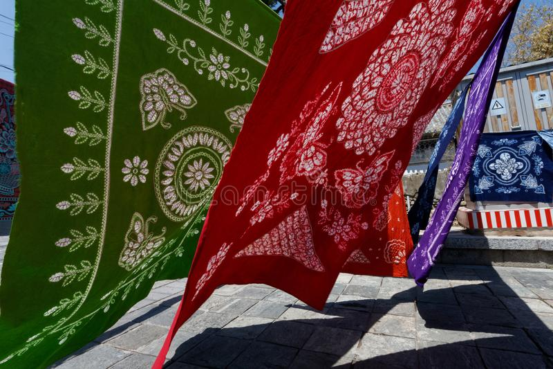 Batik sheets waiting for customers royalty free stock photos