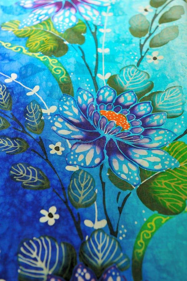 Batik style floral fabrics royalty free stock photos