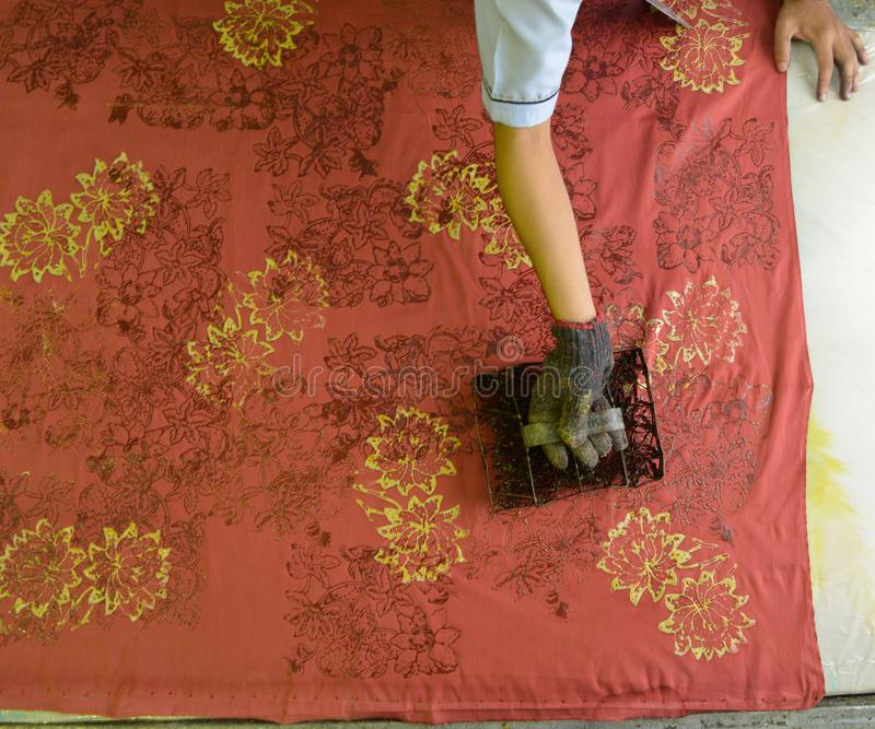 Batik block printing stock images