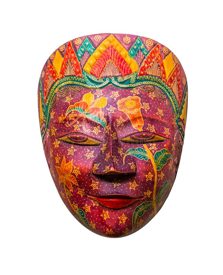 Batik Wooden mask souvenir isolated on white background royalty free stock images