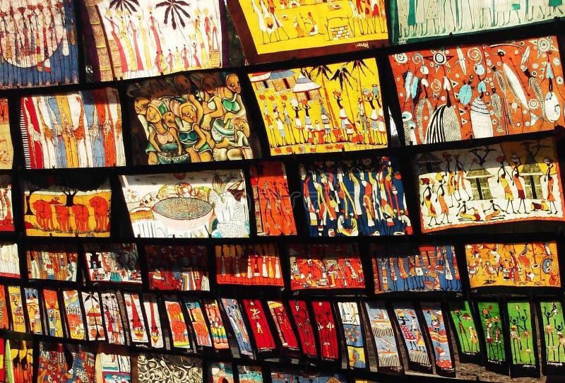 Batik Work in Mozambique Market stock image