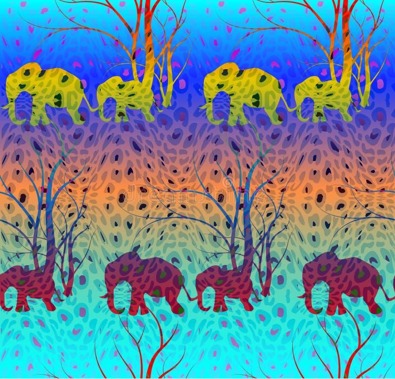 Batikowy kolorowy wzór z ślicznym zwierzęciem, słonie Słonia ` s dziecko z matką Spacer w sawannie ilustracji