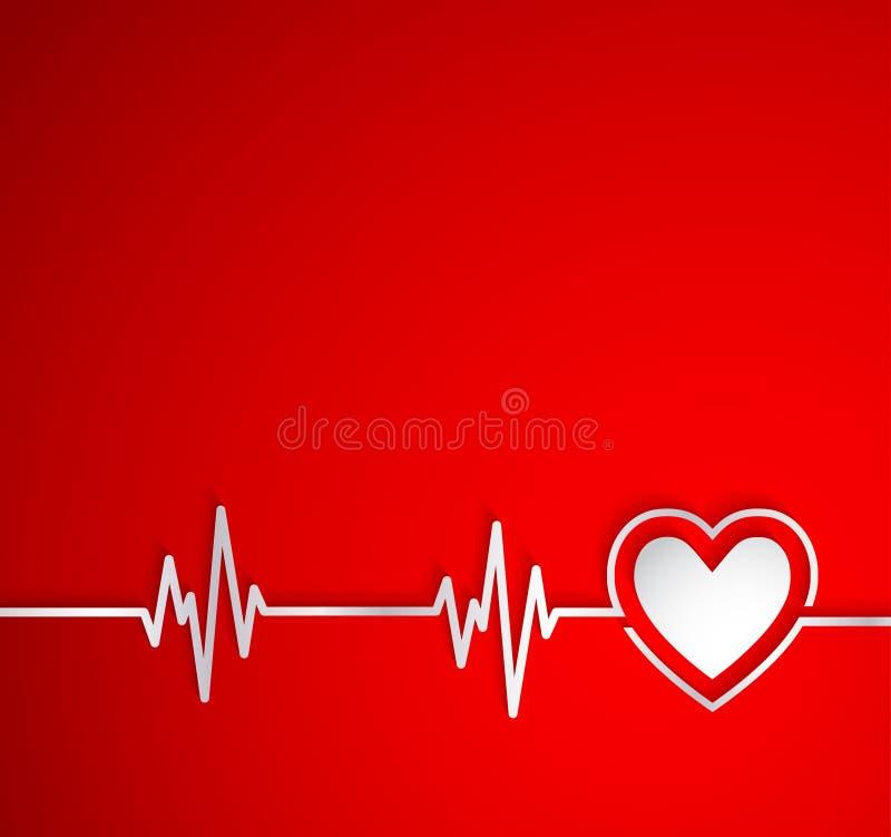 Batimento cardíaco com forma do coração Útil como o fundo médico ilustração royalty free