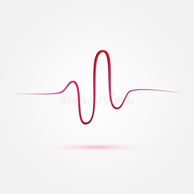 Batimento cardíaco do vetor, ícone do cardiograma ilustração do vetor