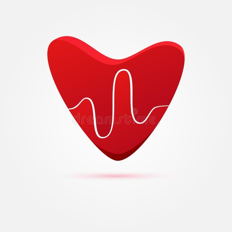 Batimento cardíaco do vetor no coração vermelho ilustração stock