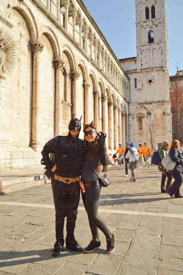 Batman and Catwoman at Lucca Comics and Games 2014 royalty free stock photography
