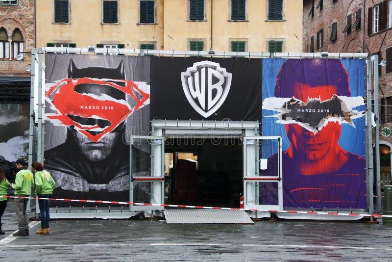 Batman contro il superman fotografia stock