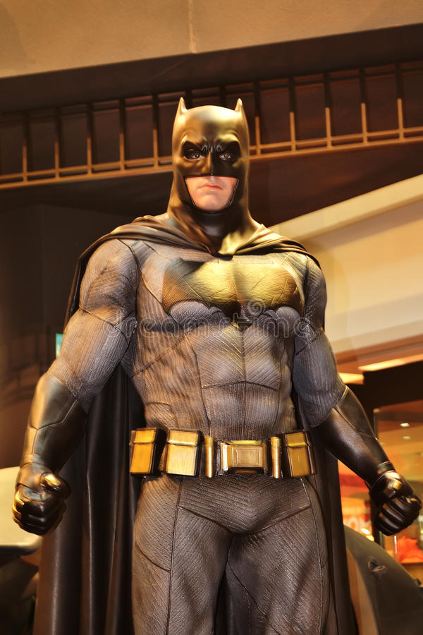 Batman. Figure on display as a promotion for the movie  v Superman: Dawn of Justice in Hong Kong royalty free stock photos