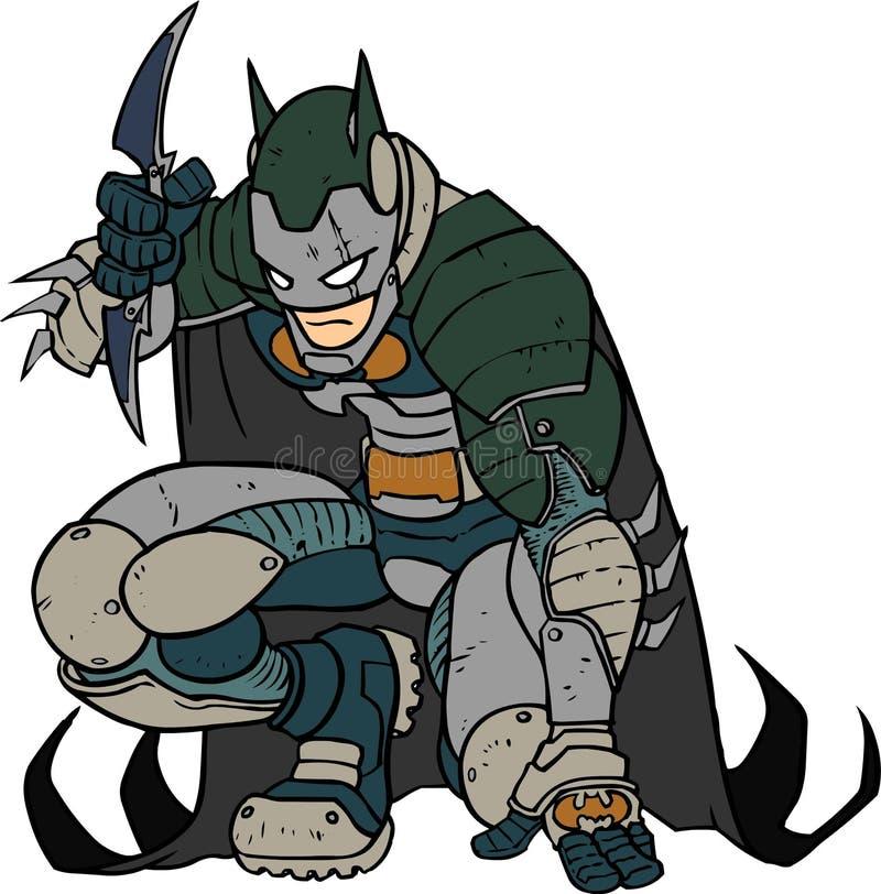 Batman prêt à l'action pendant la nuit de Gotham City image libre de droits