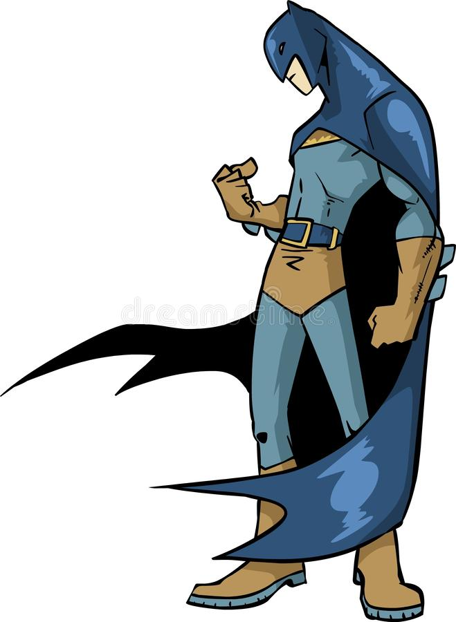 Batman superhero dc comic standing cartoon pose with cartoon style unique bright color. Illustration of batman standing with bright color and alternative style royalty free illustration