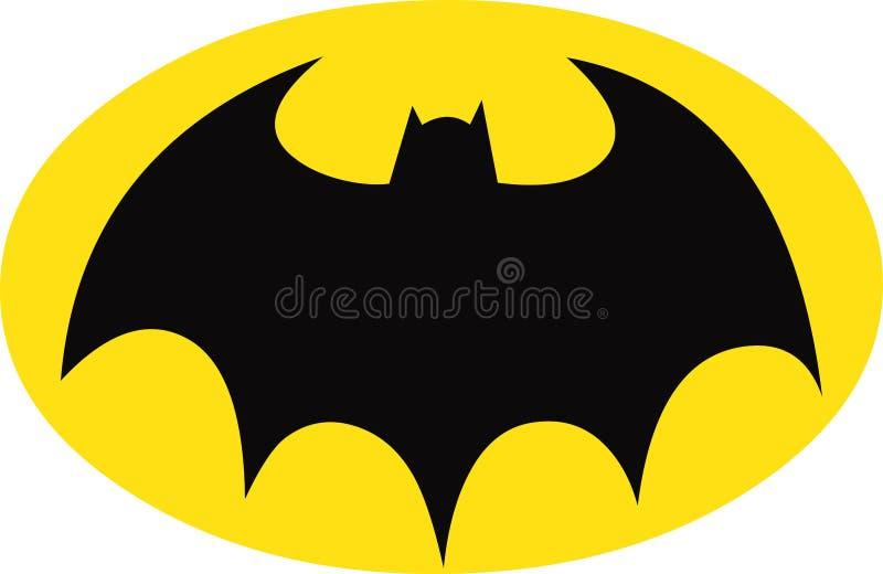 Batman symbol på gul Oval stock illustrationer