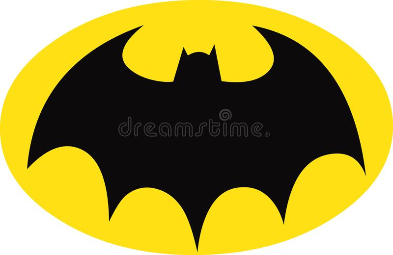Batman Symbol on Yellow Oval. Batman black Bat insignia/ symbol of DC comics supehero character batman on yellow oval stock illustration