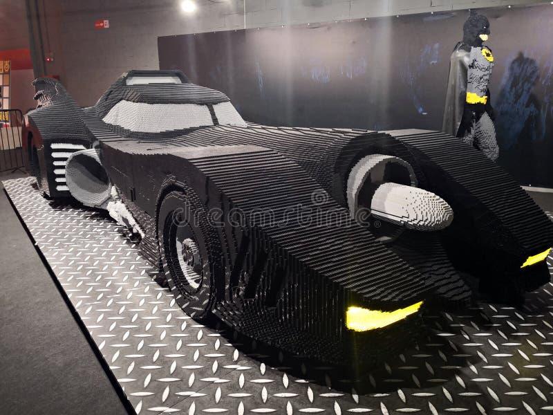 Batman y BatMobile - Lego Exhibition Invasion de Giants imágenes de archivo libres de regalías