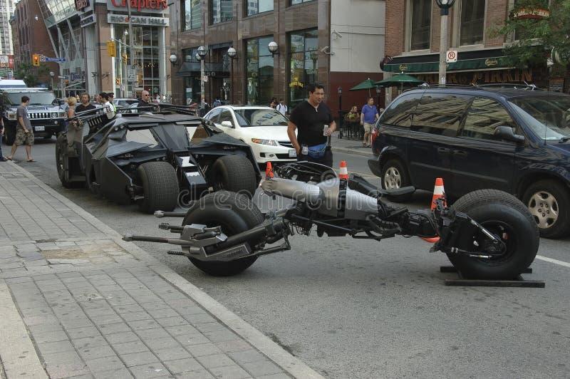 Batmobile en batpod motorfiets stock afbeelding