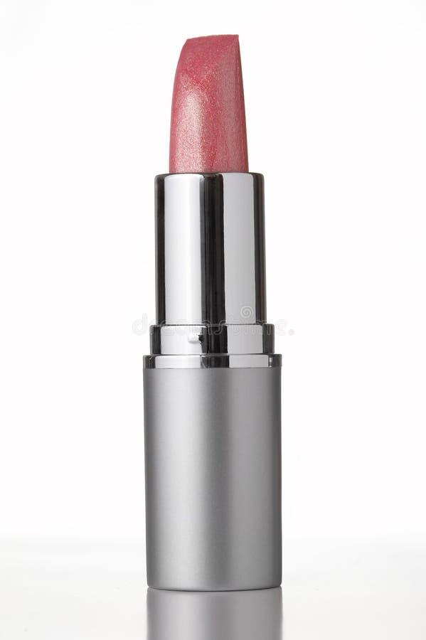 Batom cor-de-rosa no fundo branco imagens de stock