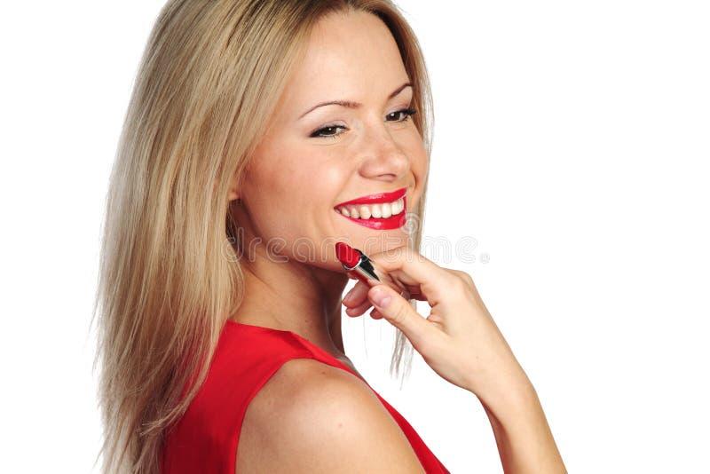 Batom do vermelho da mulher imagens de stock