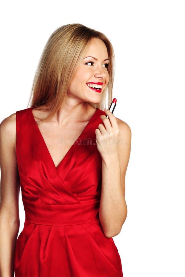 Batom do vermelho da mulher imagem de stock royalty free