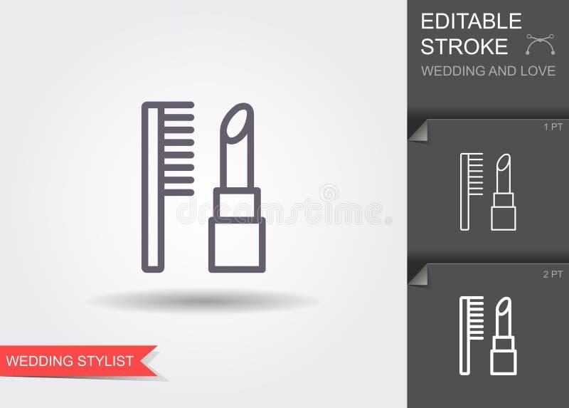 Batom e pentes Linha ícone com sombra e curso editável ilustração royalty free
