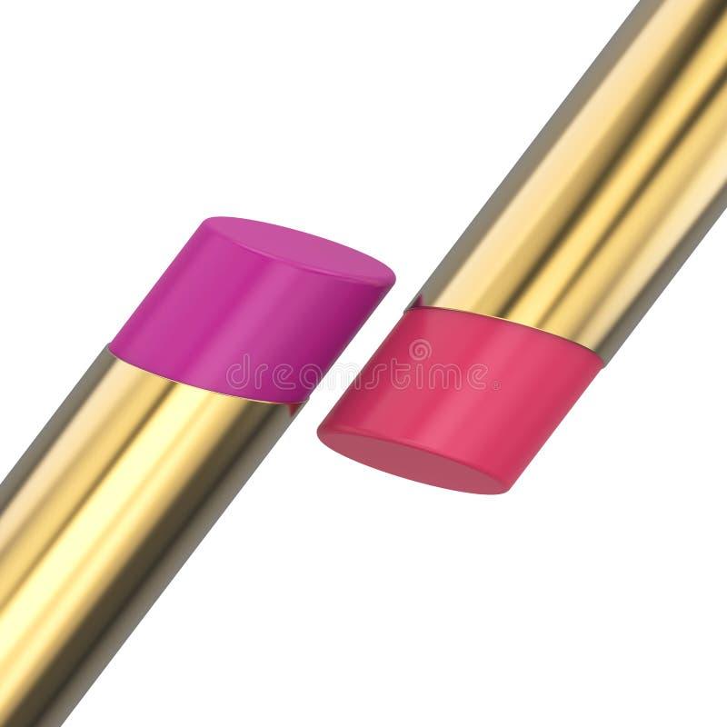 batom vermelho e cor-de-rosa da ilustração 3D do ouro ilustração royalty free