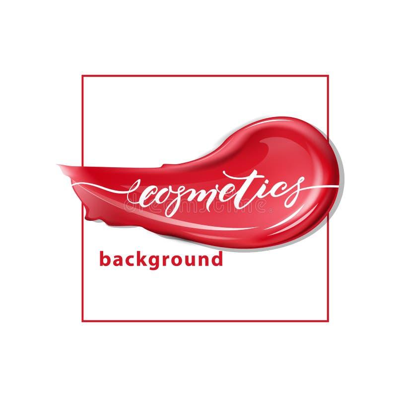Batom vermelho e batom das manchas no fundo branco Beleza e fundo dos cosméticos Vetor do molde fotografia de stock