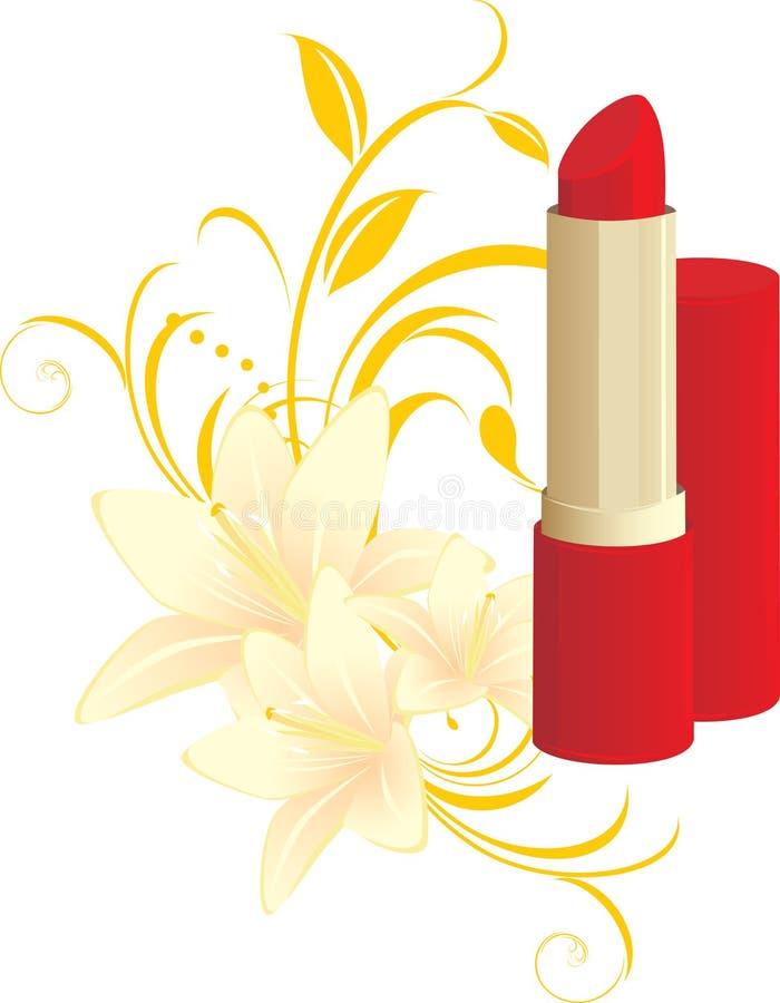 Batom vermelho e ornamento floral com lírios ilustração royalty free