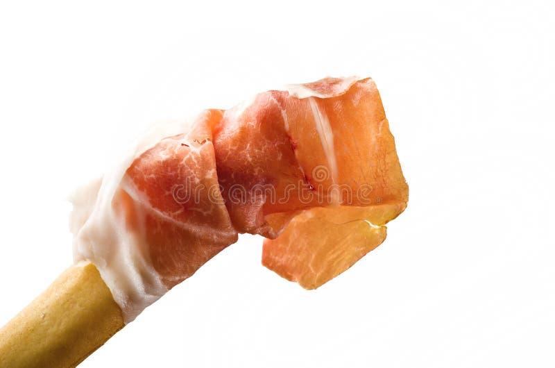 Baton de pain avec du jambon photos libres de droits
