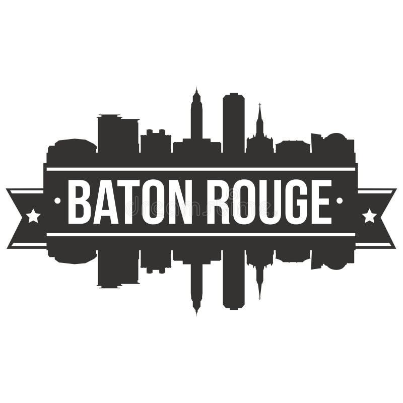 Baton Rogue Luizjana Stany Zjednoczone Ameryka usa ikony sztuki projekta linii horyzontu miasta Wektorowej Płaskiej sylwetki Edit royalty ilustracja