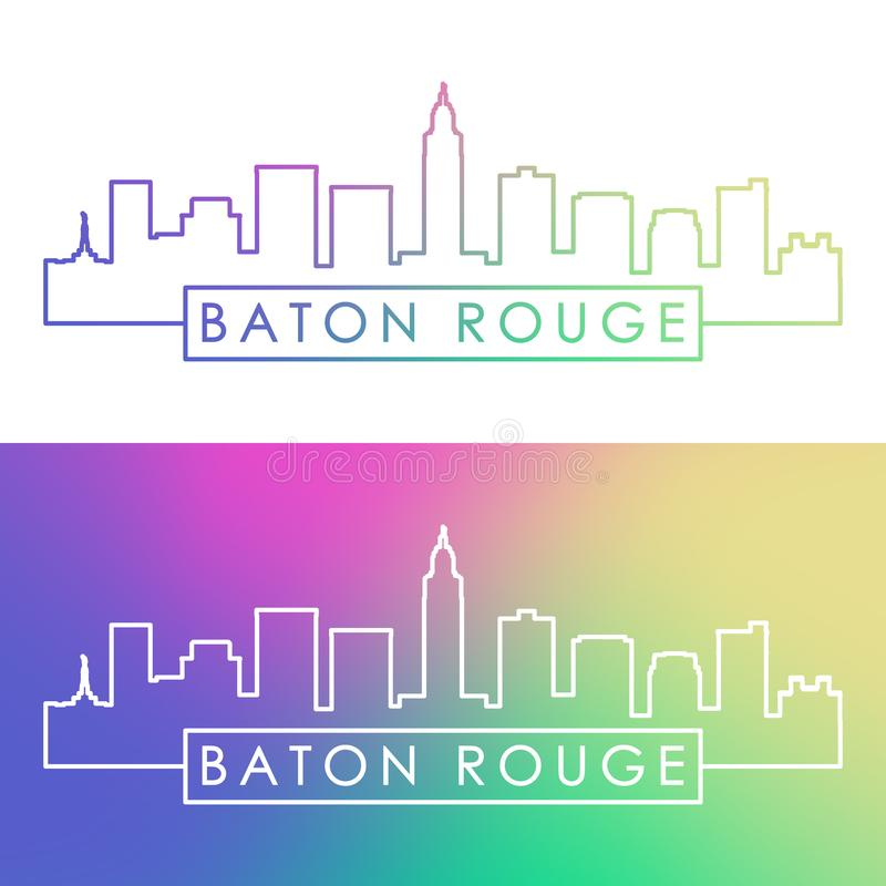 Baton Rogue miasta linia horyzontu Kolorowy liniowy styl royalty ilustracja