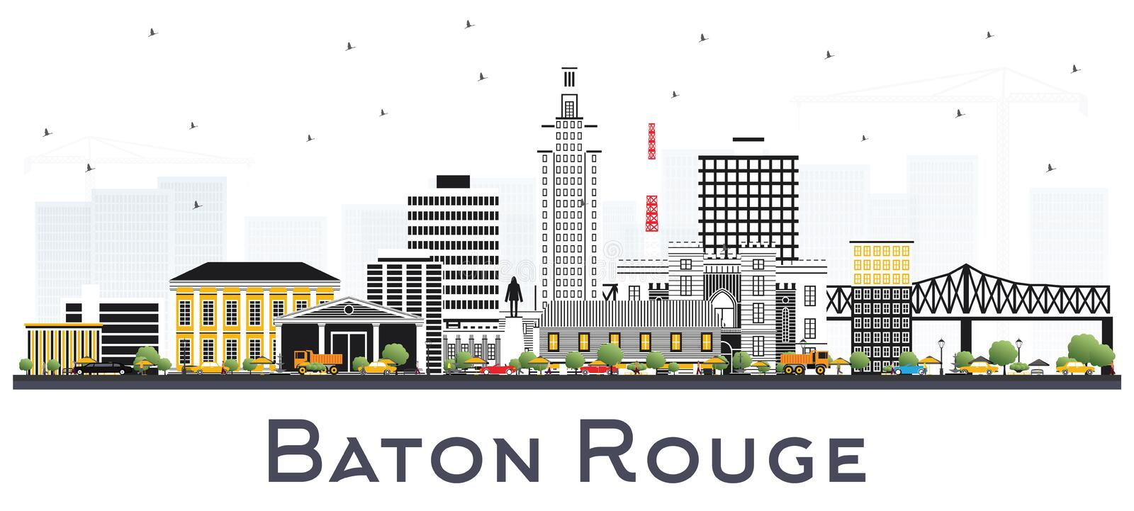 Baton Rouge Louisiana City Skyline with Color Buildings Isolated. On White. Vector Illustration. Business Travel and Tourism Concept with Modern Architecture stock illustration