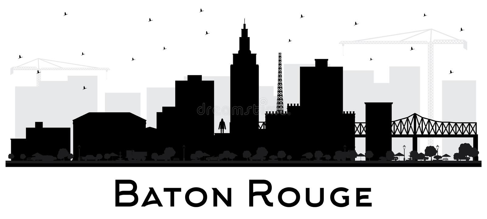 Baton Rouge Louisiana City Skyline Silhouette with Black Buildings Isolated on White. Vector Illustration. Business Travel and Tourism Concept with Modern stock illustration