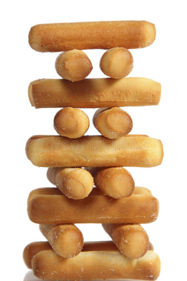 Batons de pain salés sur le fond blanc photo stock