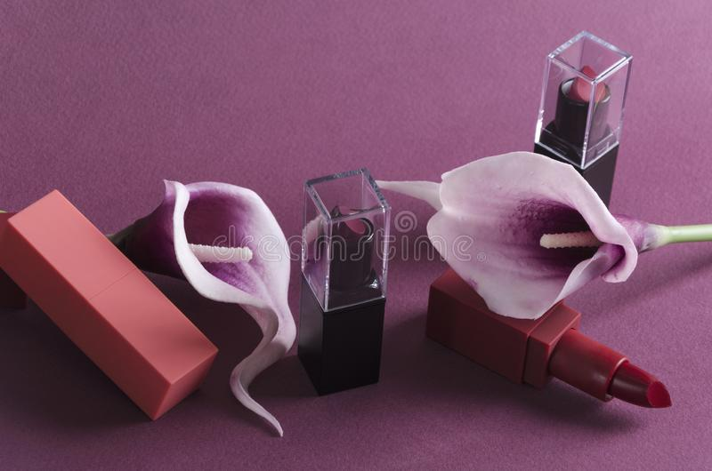 Batons luxuosos e callas roxos no fundo violeta imagens de stock