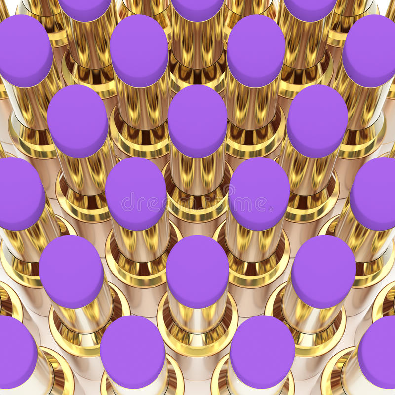 batons roxos do ouro da ilustração 3D ilustração do vetor