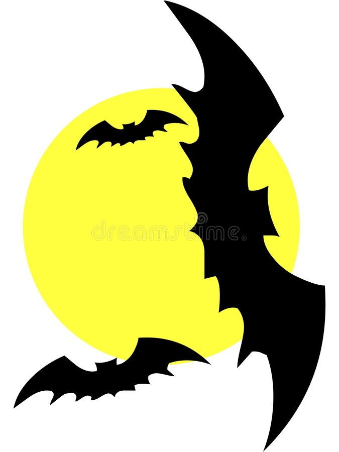 Bats. Illustration Of Spooky Bats Flying Around The Moon On Halloween