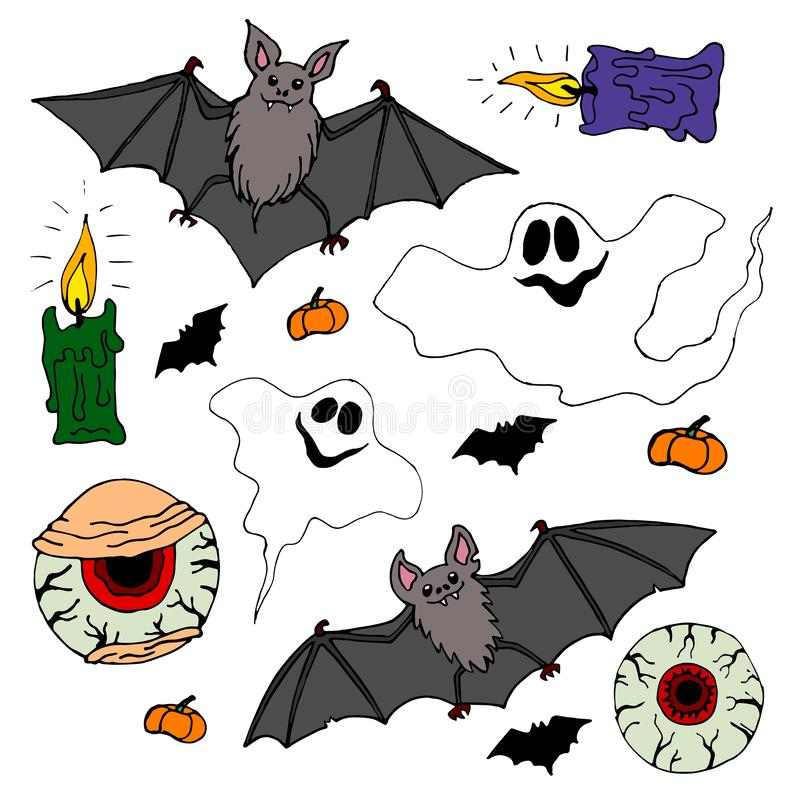Bats, eyes of zombies, ghosts and candles. Set of Halloween objects stock illustration
