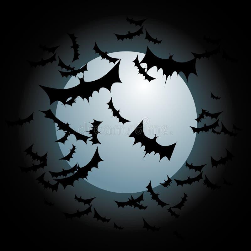 Bats Flying Full Moon Stock Photo