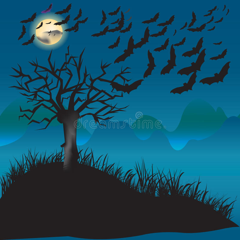 Bats Flying In The Moonlight Stock Images