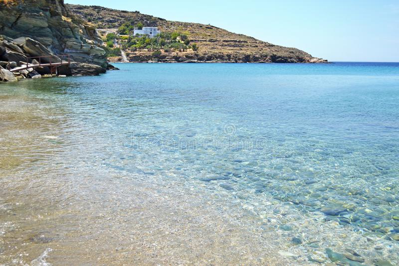 Batsi beach Andros island Greece stock photos