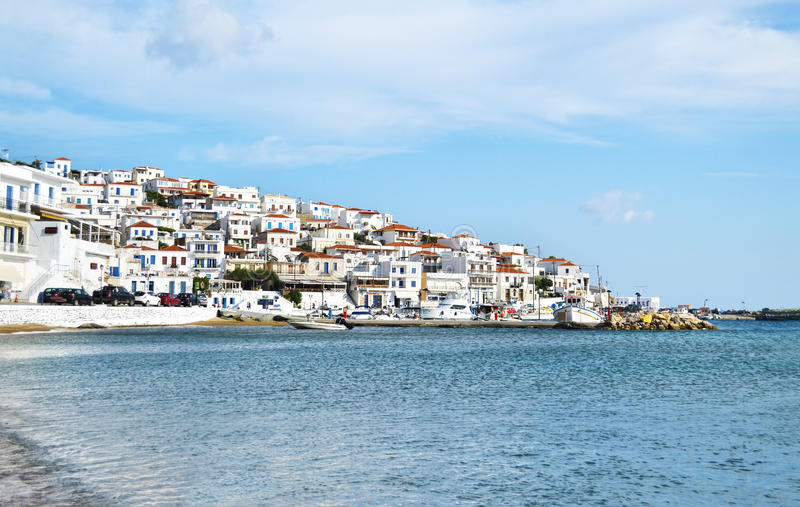 Batsi landscape Andros island Greece stock photos