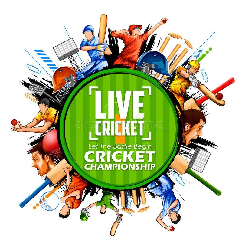 Batsman and bowler playing cricket championship sports vector illustration