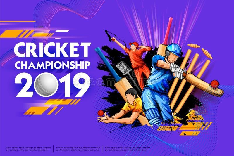 Batsman and bowler playing cricket championship sports 2019 stock illustration